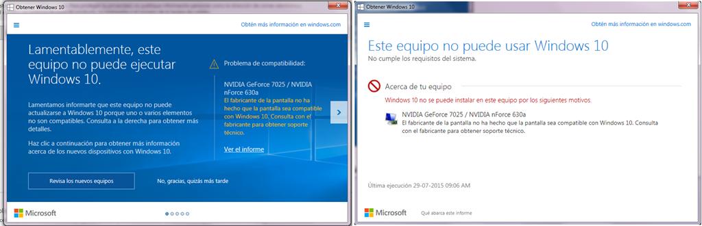 No puedo actualizar a Windows 10, problema Nvidia