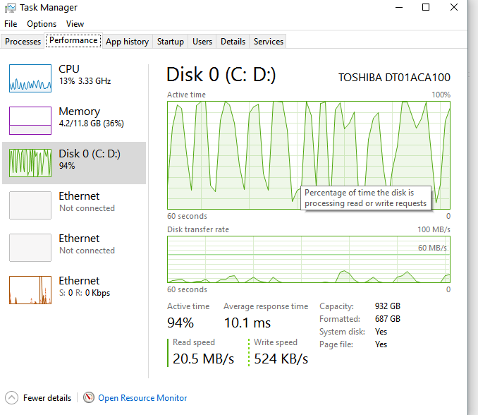 windows 10 home disk 100