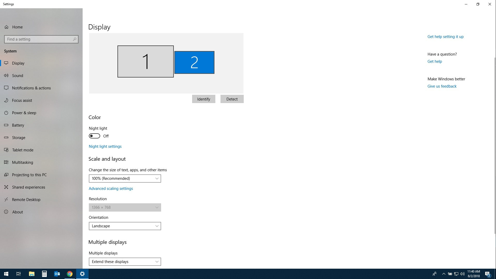 Second Display Monitor Resolution Greyed Out - Microsoft