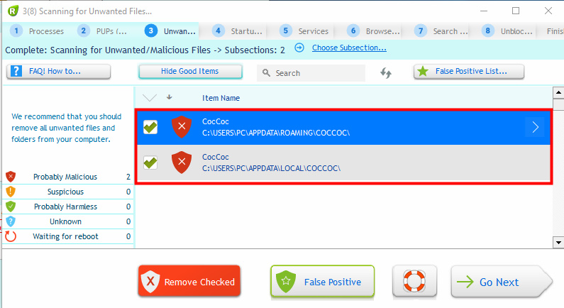 Browser the coccoc have the must be is malware? Or is a false