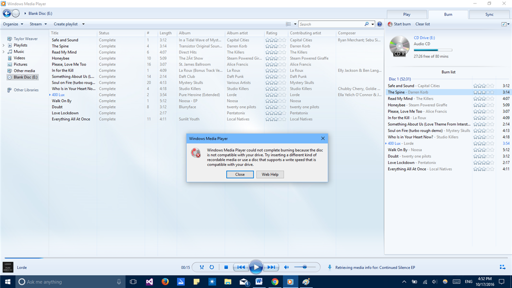 windows media player cd burner error