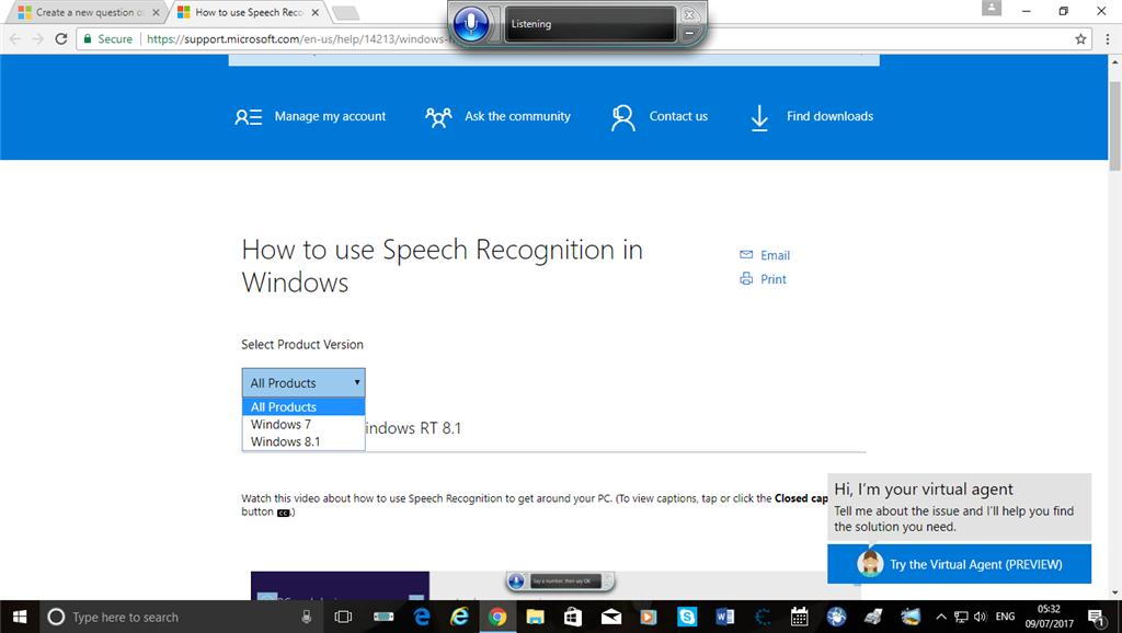 Speech Recognition in Windows 10 - Microsoft Community