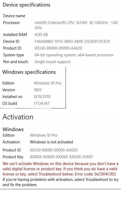 windows 10 pro 1803 product key 2019