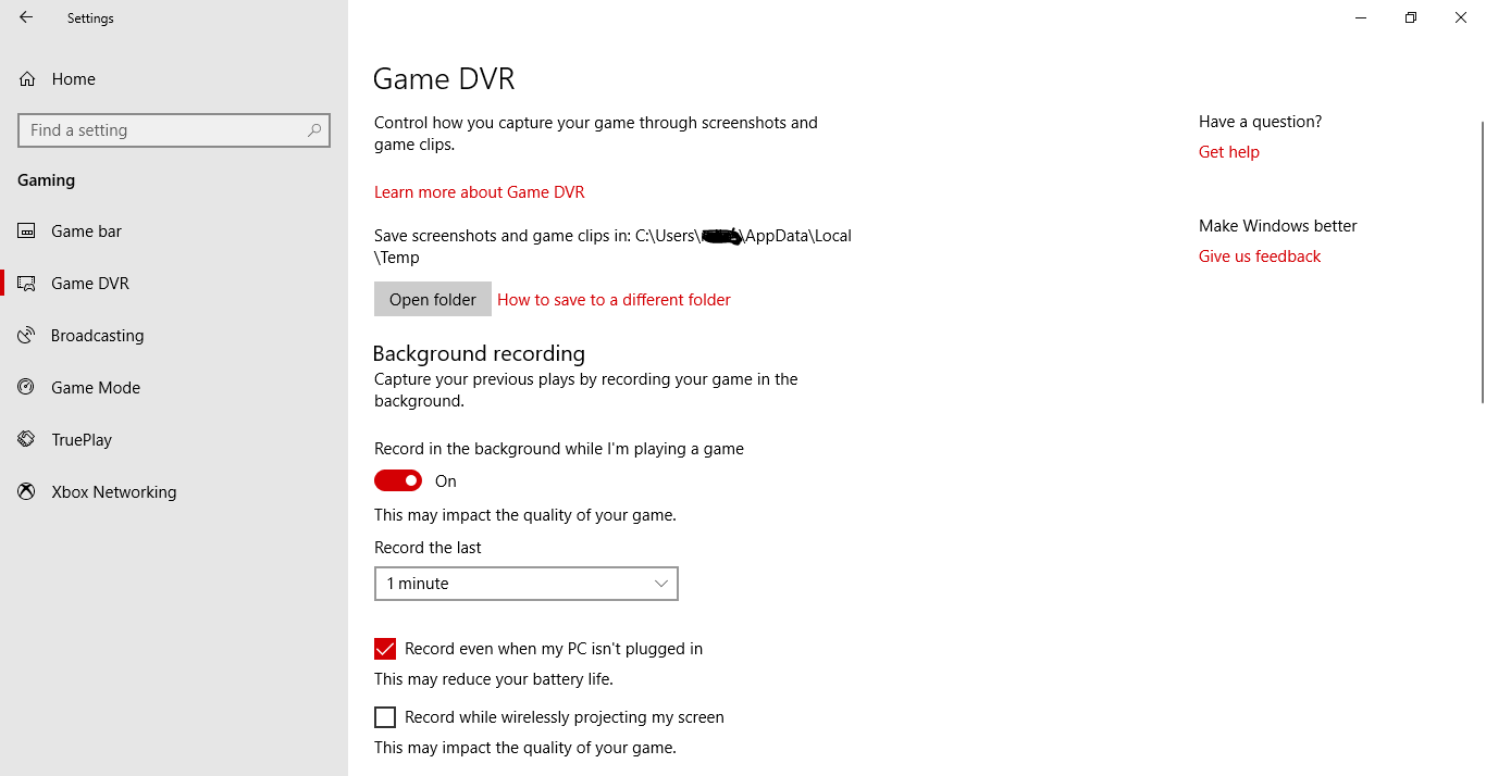 Game DVR problem - Microsoft Community