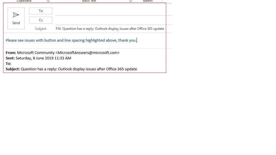 Outlook display issues after Office 365 update - Microsoft