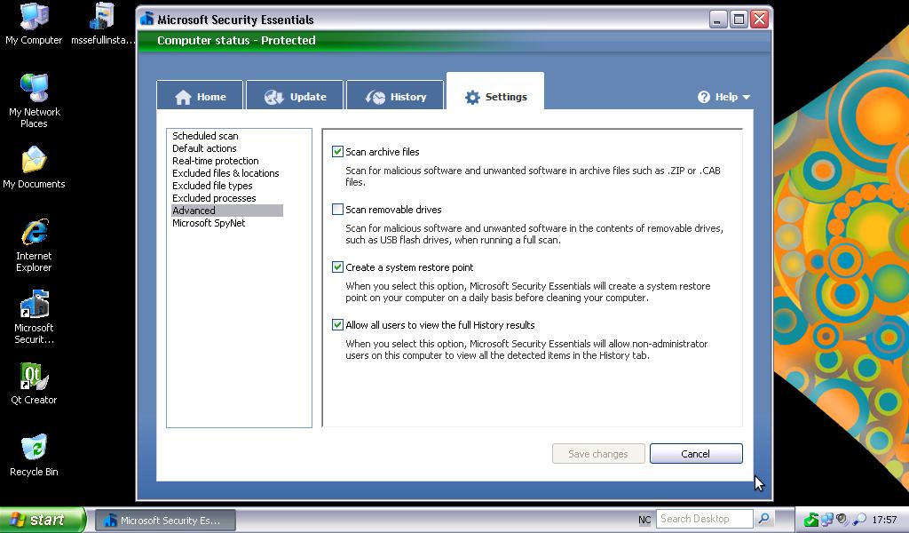 Microsoft Security Essentials shuts down error code