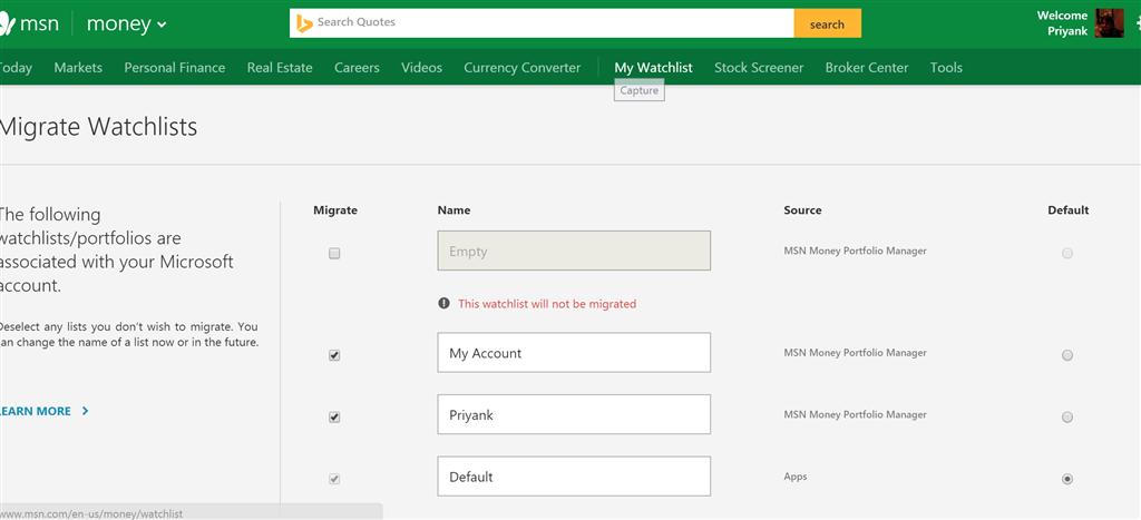 Watchlist Data Migration Issues Addressed - Microsoft Community