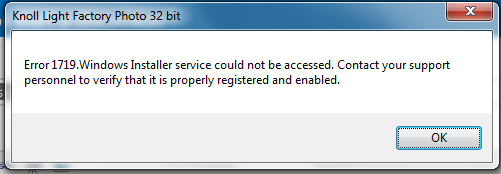 Error 1719: Windows Installer service could not be started