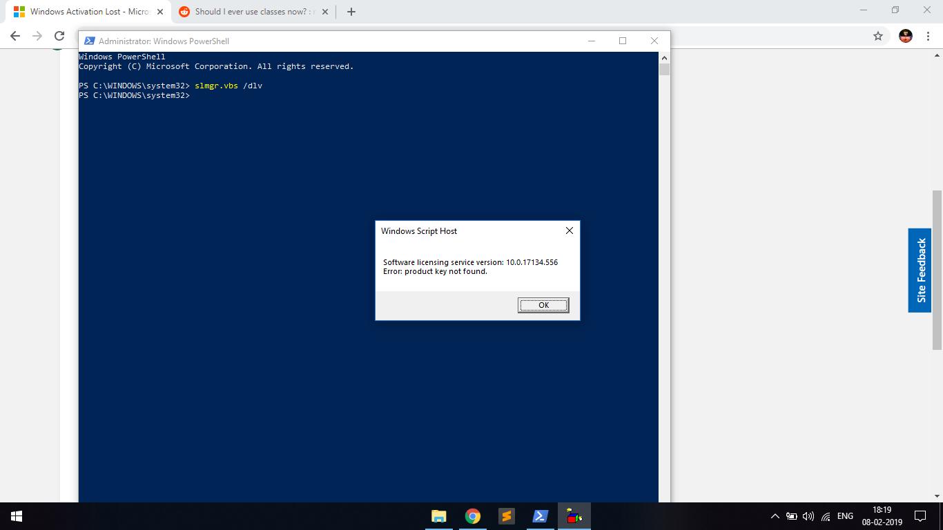 error product key not found slmgr