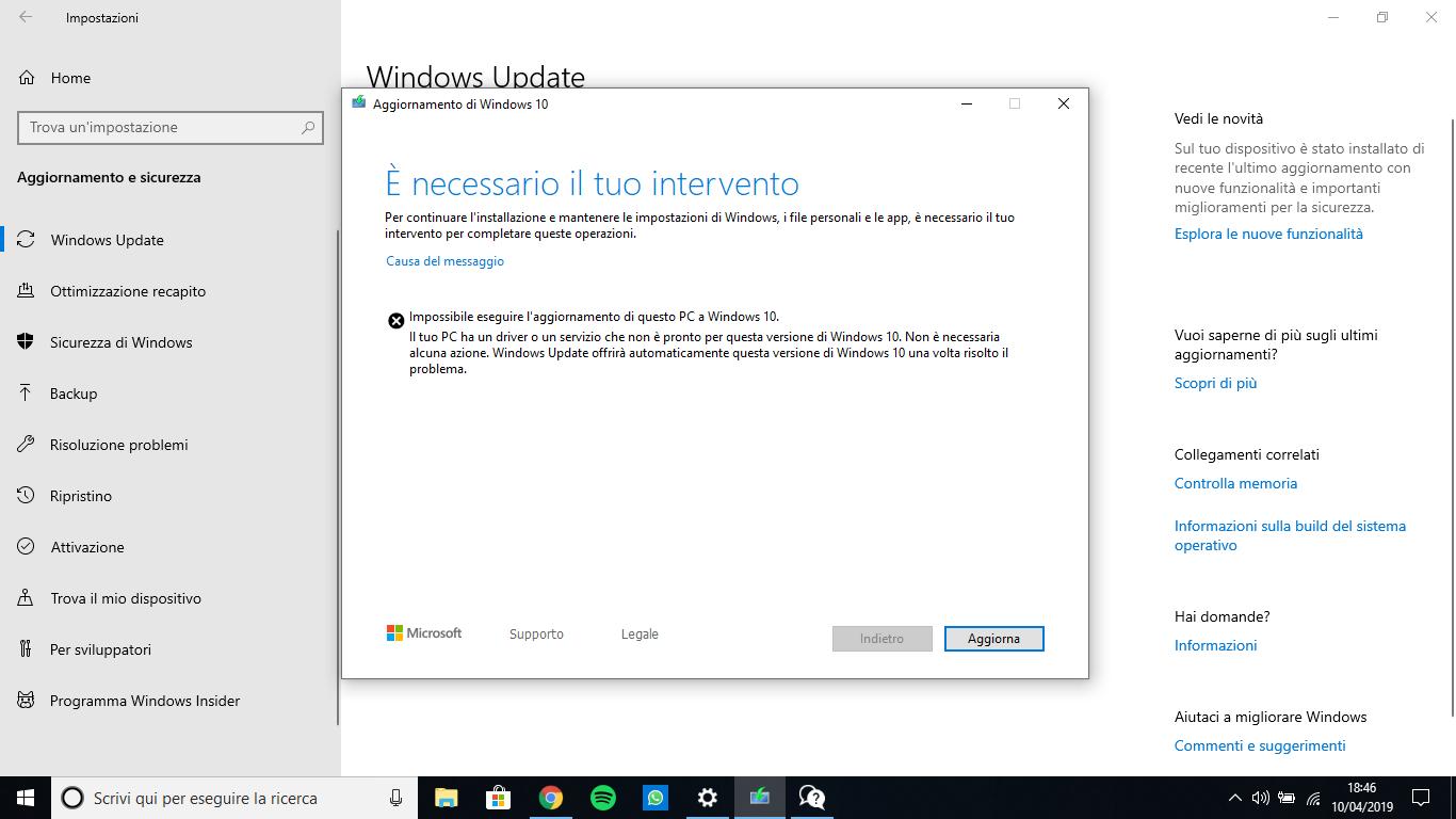 Impossibile eseguire l'aggiornamento di questo PC a ...