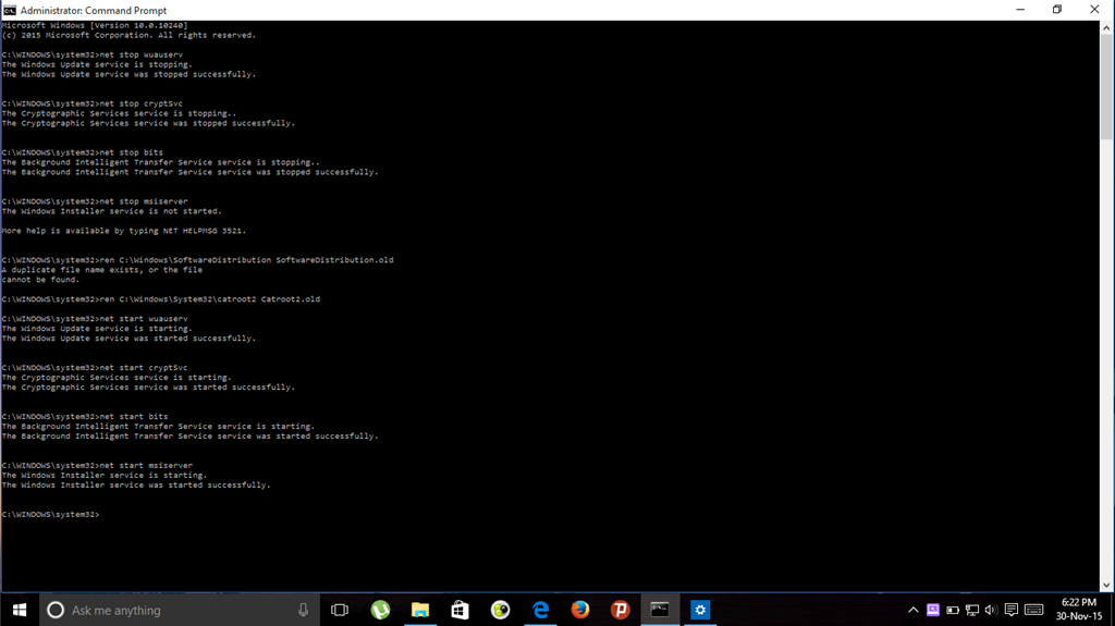 Net stop wuauserv net stop bits | Windows 10 1709 update