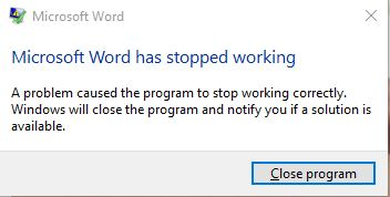 Word 2016 crashes when copying and pasting from web pages