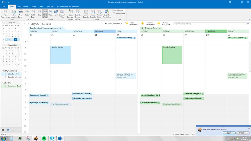 Room calendar in Outlook 2016 copying default calendar