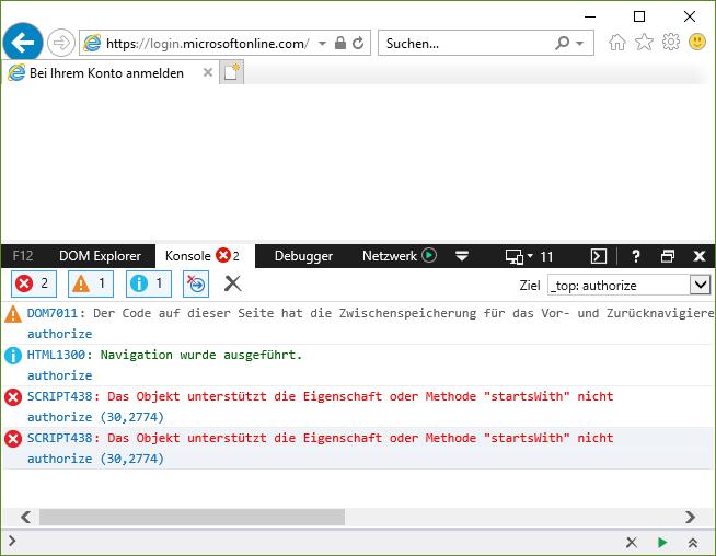 IE11 Script Error on Microsoft Graph oauth page - Microsoft Community
