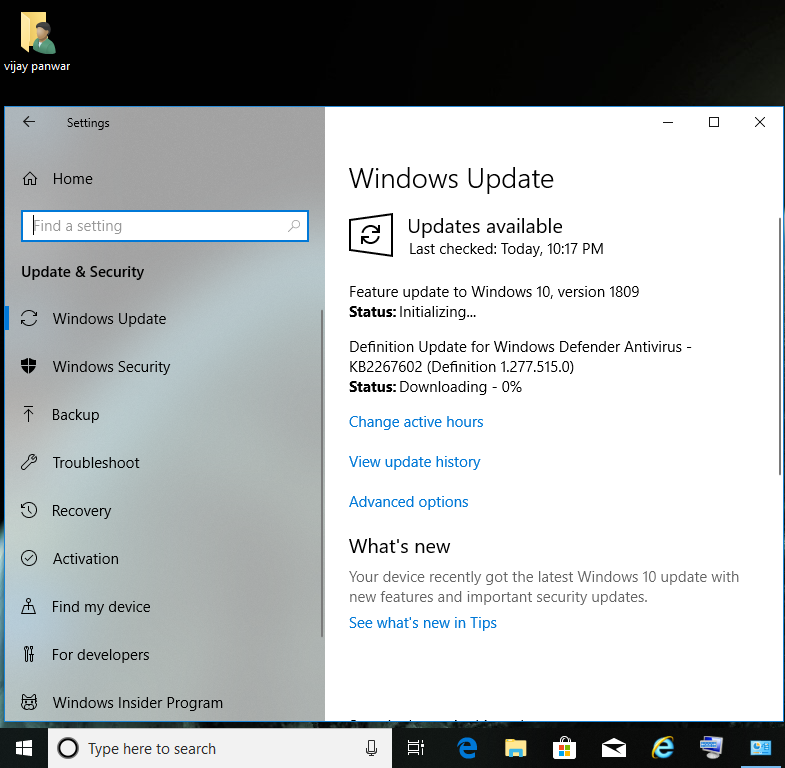 Feature update to windows 10 , version 1809 is available in windows