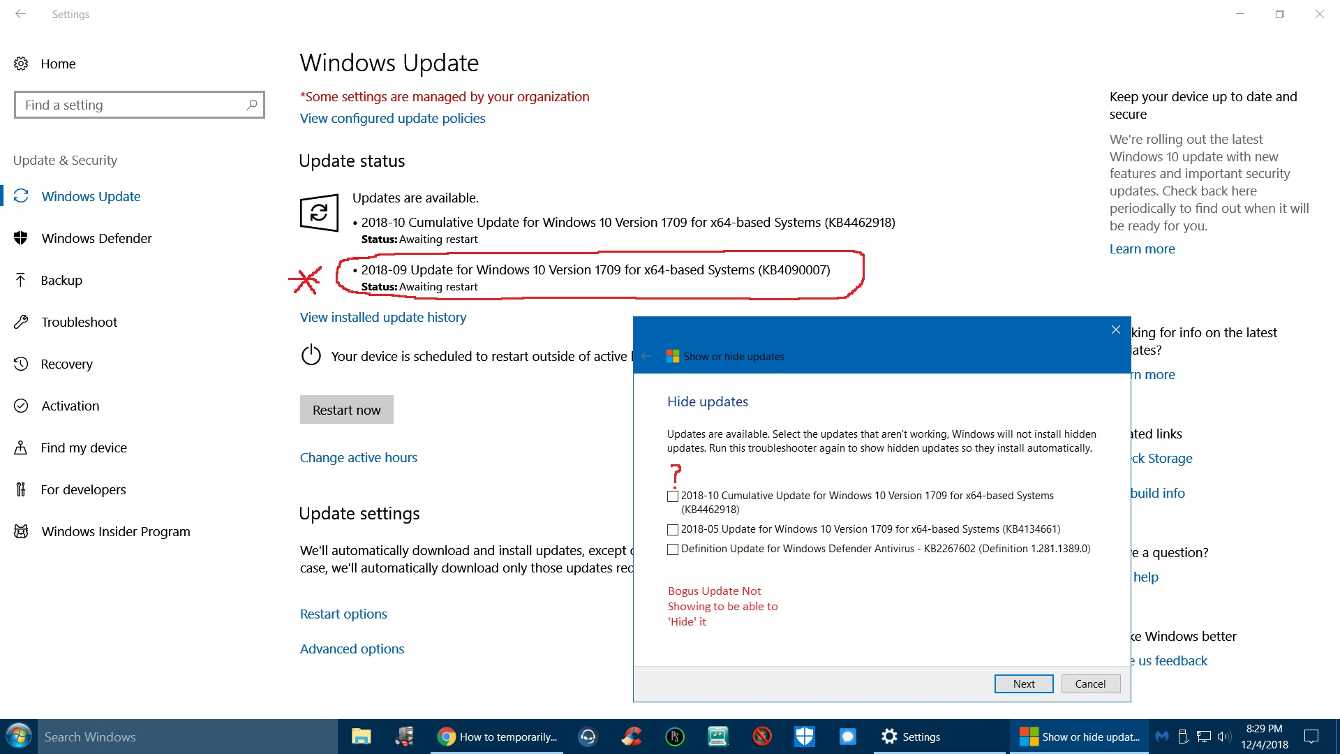 Wrong Update in Queue   (KB4090007: Intel microcode - Microsoft