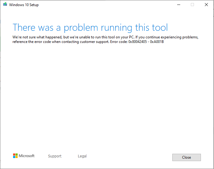 Media Creation Tool Error 0x80042405 0xA001B - Microsoft Community