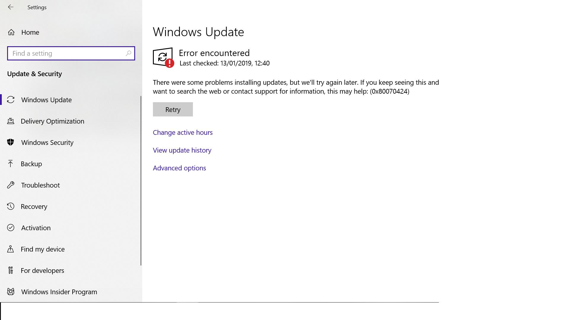 Windows Updates Error on Windows 10: 0x80070424 - Microsoft Community