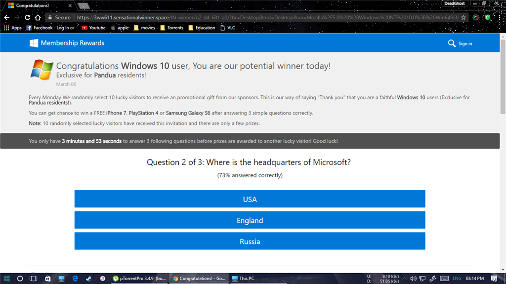Congratulations Windows 10 user, You are our potential winner