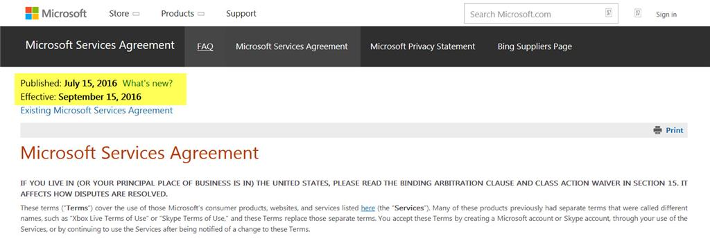 Microsoft Agreement Update E Mail Today Microsoft Community