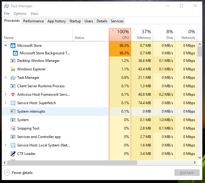 Windows Explorer freezing, Microsoft Store background task