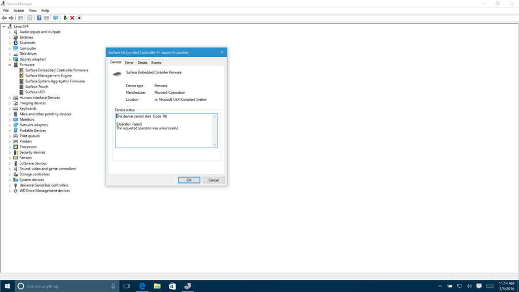 Surface Pro 4 Device Manager shows non-functioning drivers