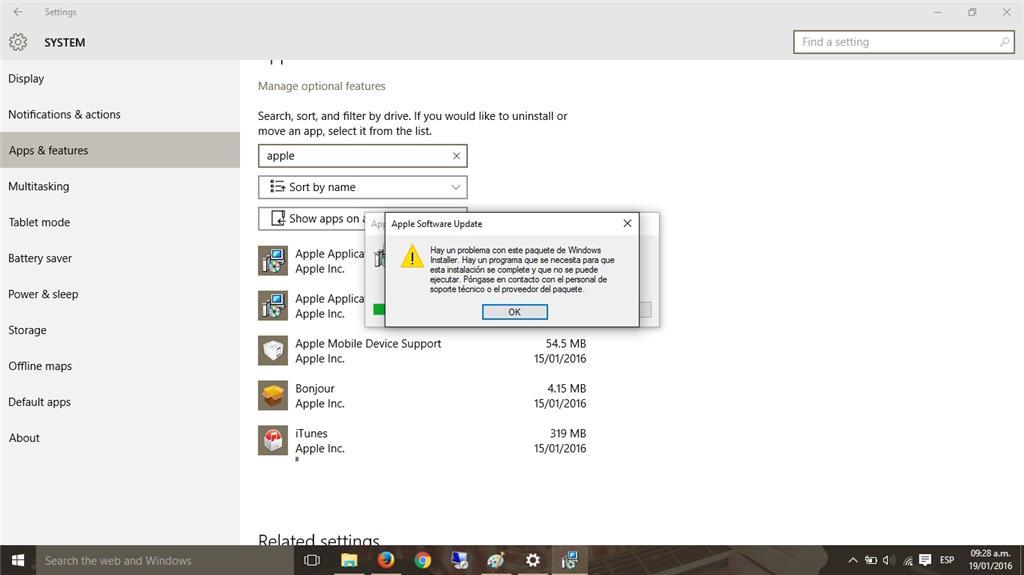 Windows 10: No puedo instalar iTunes ni desinstalar