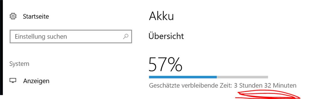 Battery on taskbar not showing estimated time left after