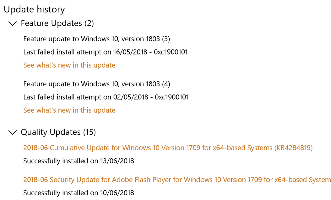 windows update 1803 failed to install