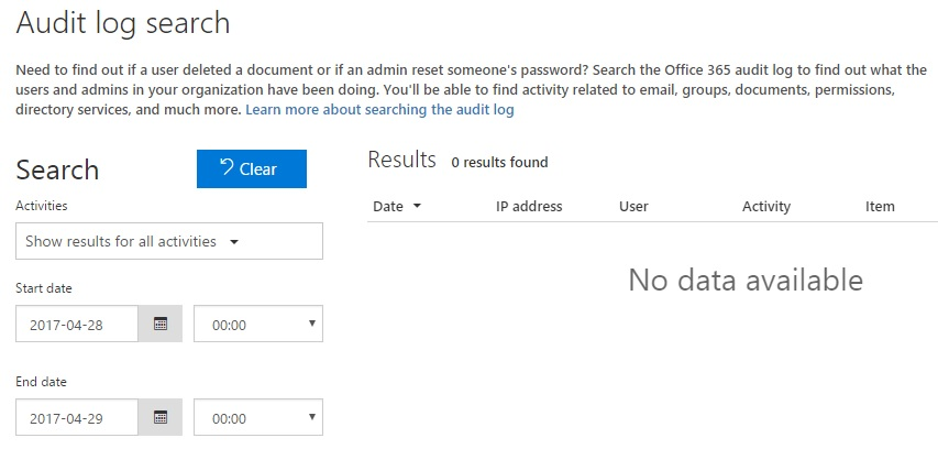 Office365 audit log search returns 'no data available