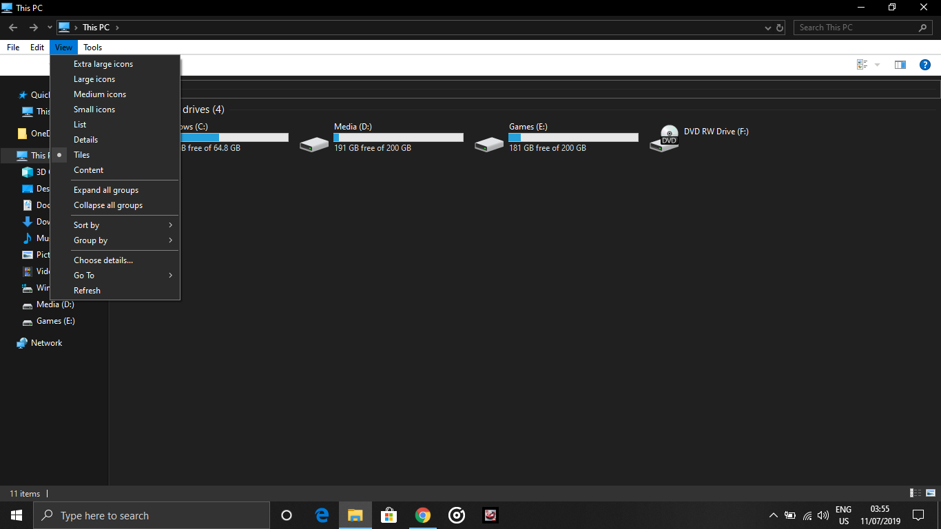 windows 10 file explorer choose details