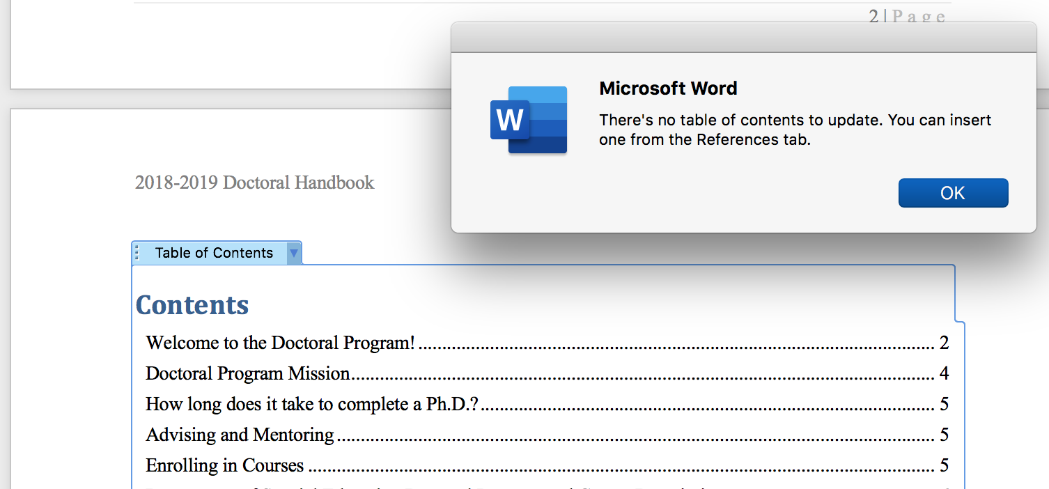When I Try To Update A Toc In Word Documents I Get The Error