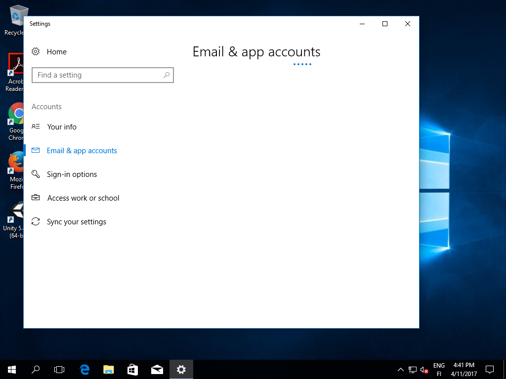 Windows 10, cannot access Email & app acounts settings