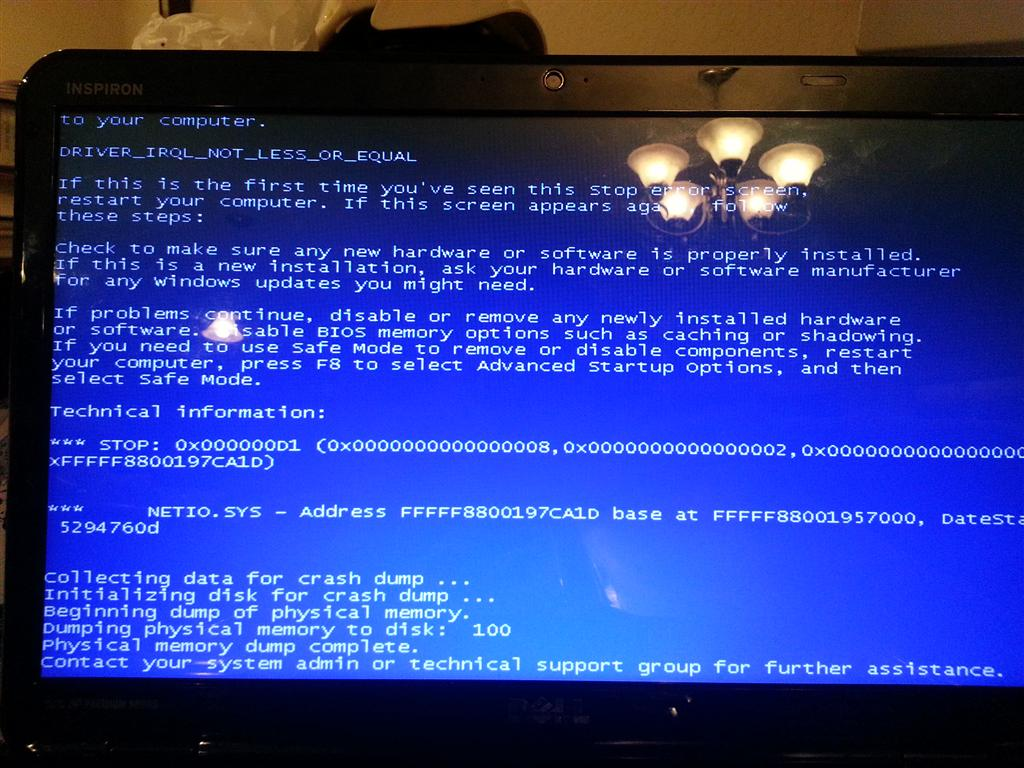 Blue Screen Of Death Driver Irql Not Less Or Equal Windows