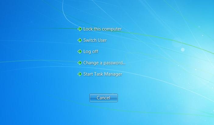 Windows 7 ctrl alt delete touch screen