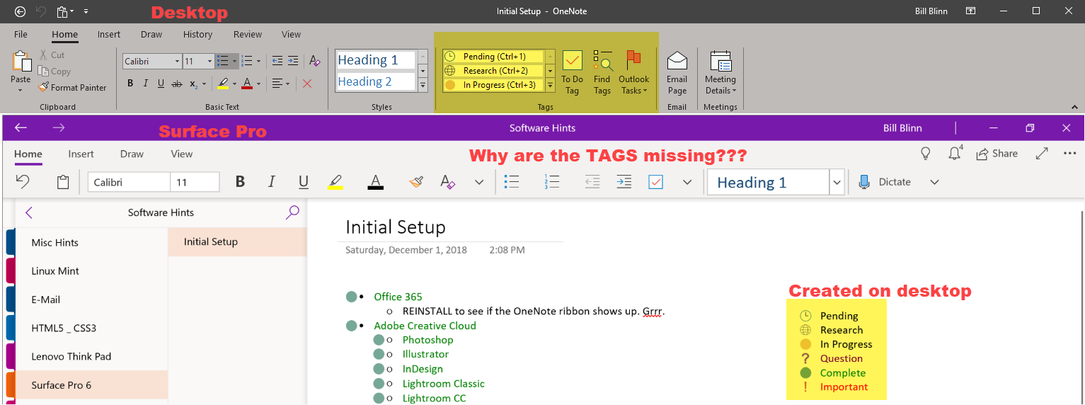 Tags missing from OneNote - Microsoft Community