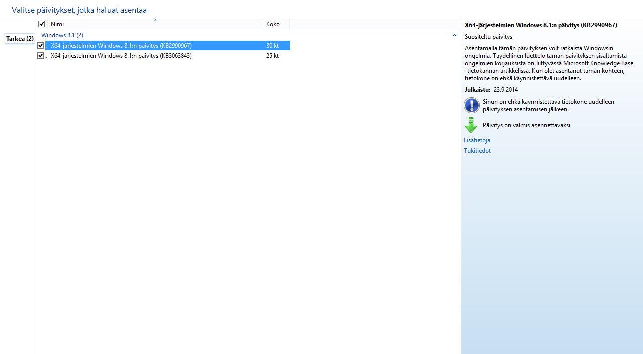 Windows 8.1 Päivitykset