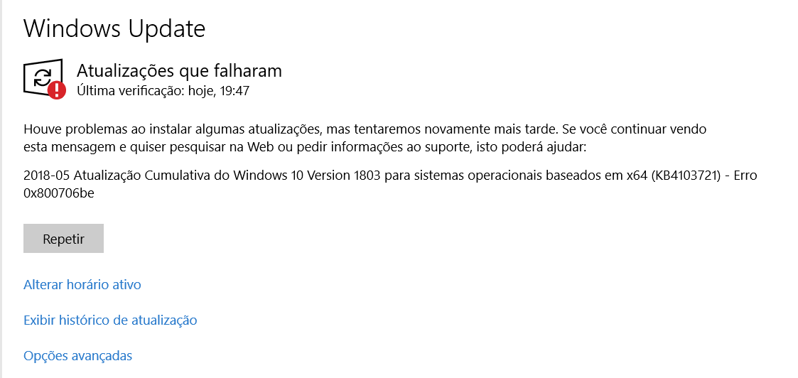 Erro 0x800706be no Upgrade de edição do Windows 10