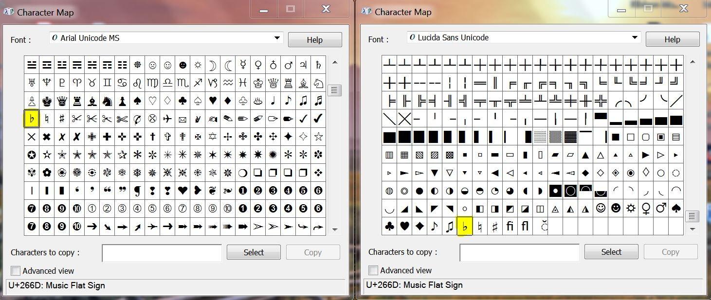 Win7 Character Map: How to add a music notation symbol? - Microsoft on