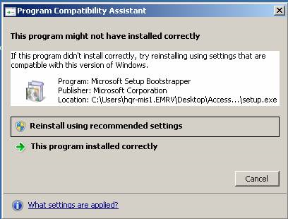 I cannot install Microsoft Access 2007 - Microsoft Office