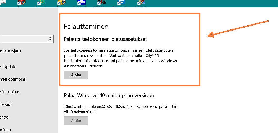 Windowsin Palauttaminen