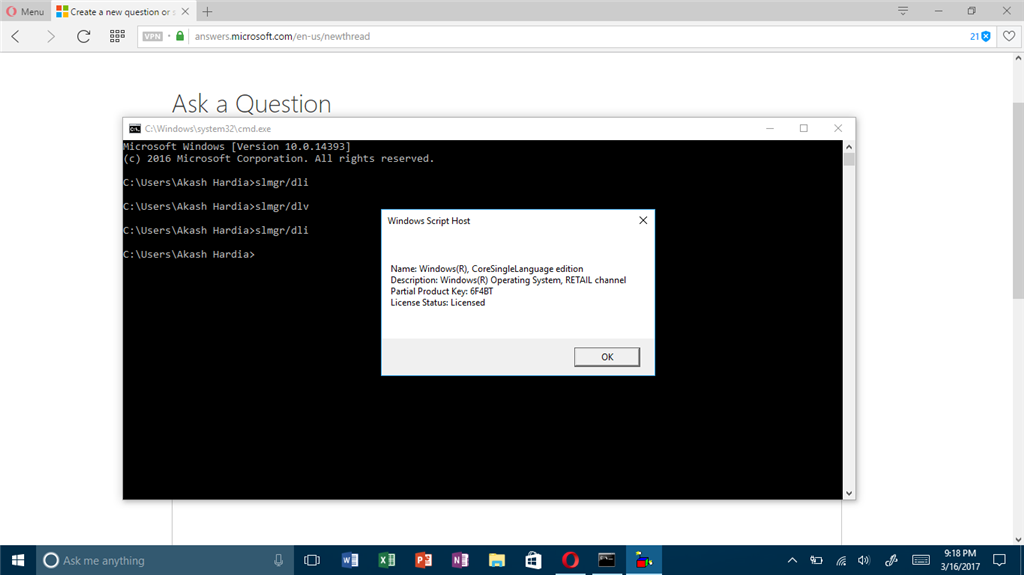 Problem in licensing type, command prompt showing other license type