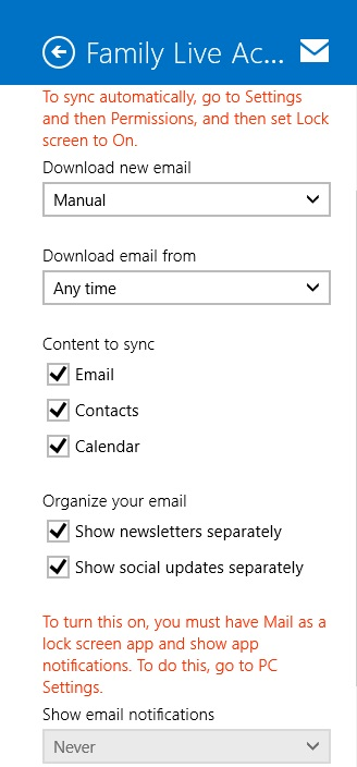 1 Microsoftmail At Abc Microsoft Com: Windows Mail App / Sync And Lockscreen Functions Not