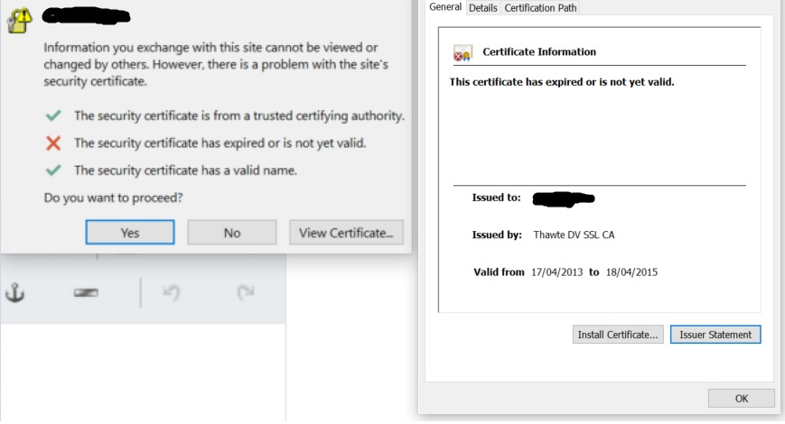 Outlook with 365: The security certificate has expired or is not ...