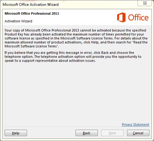 Microsoft Office 2013 Activation Error - Microsoft Community