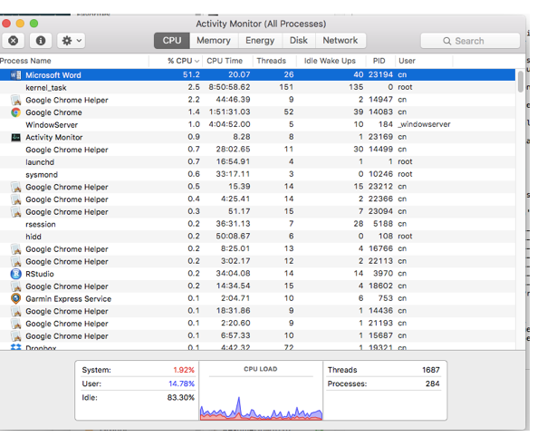 Office 2016 for Mac - High CPU Usage for MS Word - Microsoft