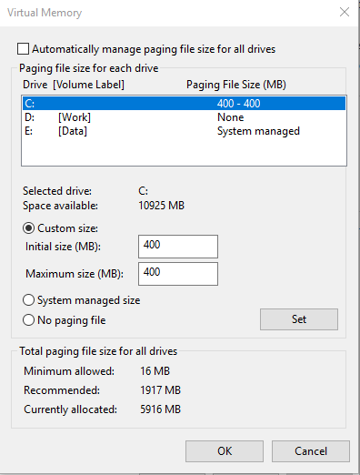 Windows 10 1809 update + KB4464330 can't set no paging file in