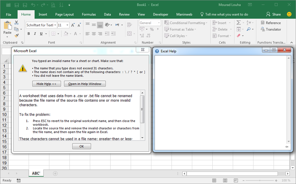 Error message text when renaming a sheet in Excel ...