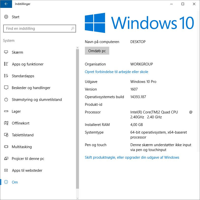 Opdatering af windows 10 til version 1607 - Microsoft Community