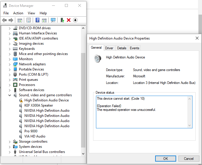 Code 10 on Microsoft's High Definition Audio Device